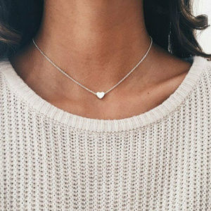 Heart Pendant Choker Bib  Women Necklace